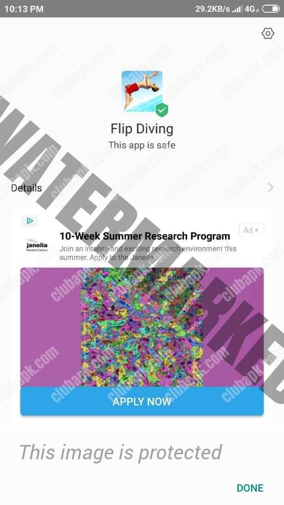 Flip Diving Mod Apk installation done